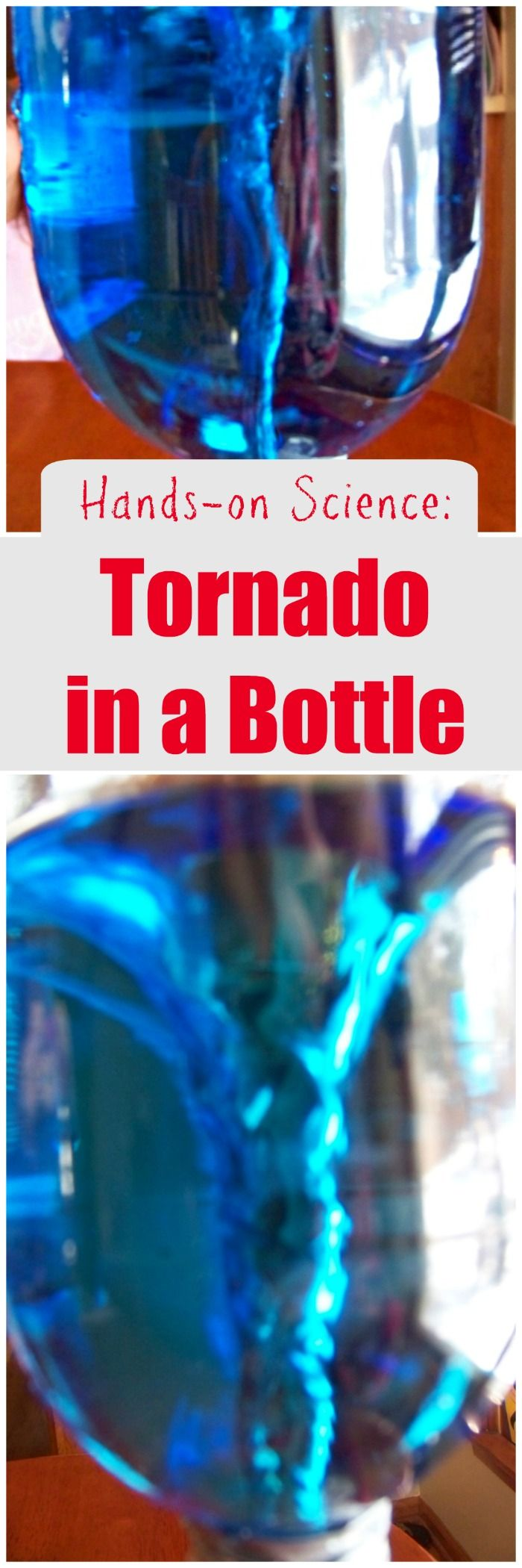 Use items you have around the house for this easy tornado in a bottle science experiment!