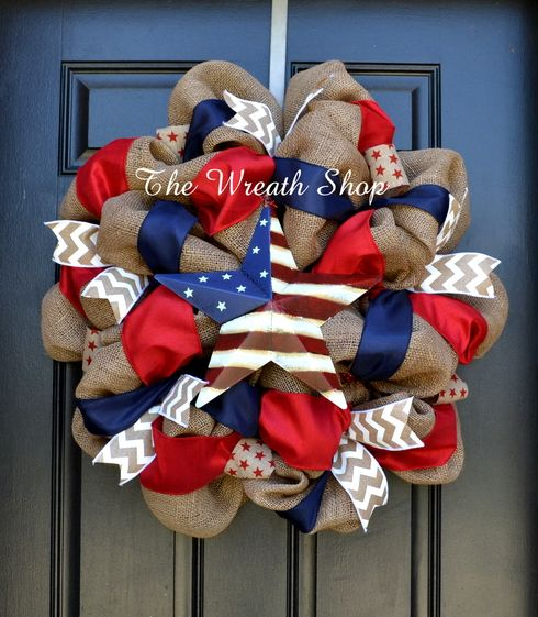 Burlap Patriotic Wreath with American Flag Star with Red and Blue and Ivory chevron.