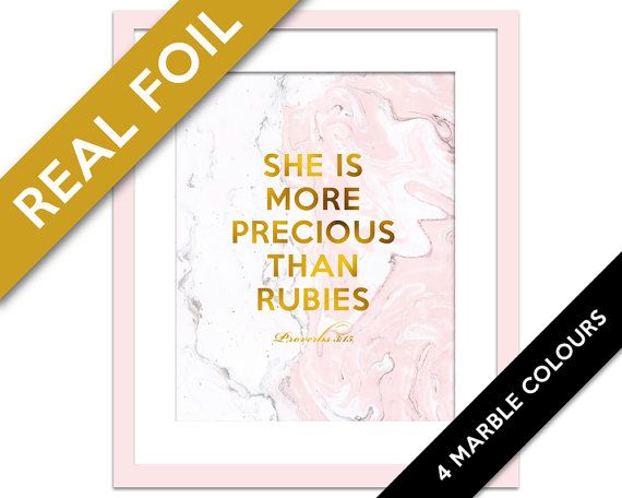 She is More Precious Than Rubies Gold Foil Art - Marble Art - Proverbs 3:15 - Nursery Art - Biblical Quote - Scripture Art - Christian Quote