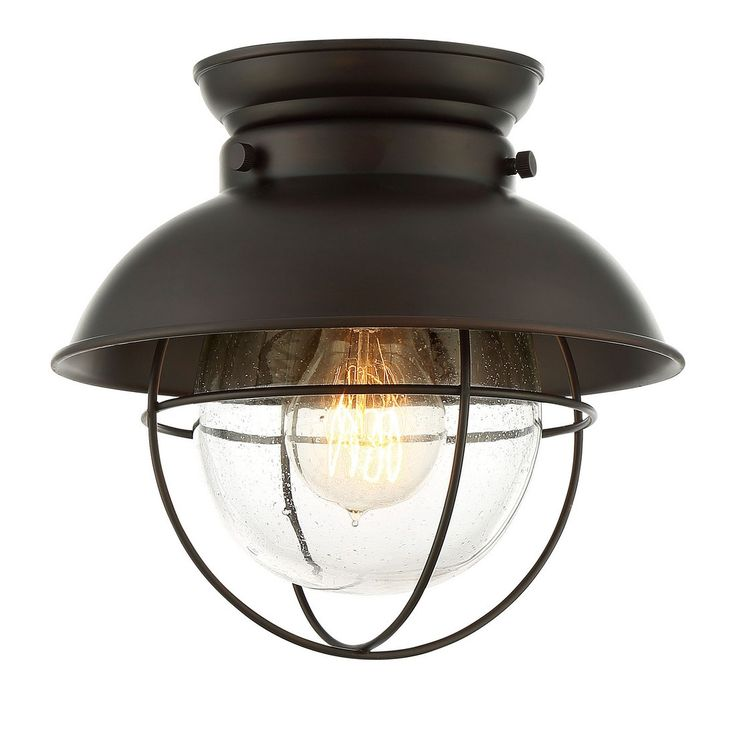 Trade Winds 1-Light Industrial Flush Mount in Oil Rubbed Bronze - Sale