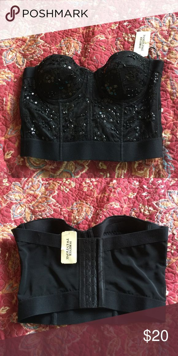 Sparkly corset top Size medium. Never worn Forever 21 Tops Crop Tops
