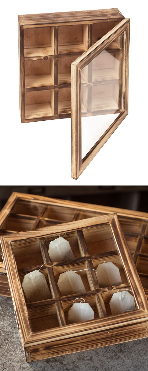 Store your tea bags artfully with this unique wooden tea box. This rustic piece is made with recycled pine wood and features nine separate compartments for holding anything you see fit. A hinged glass ...  Find the Wooden Tea Box, as seen in the Vintage Farmhouse Charm in Florence Collection at http://dotandbo.com/collections/vintage-farmhouse-charm-in-florence?utm_source=pinterest&utm_medium=organic&db_sku=120484