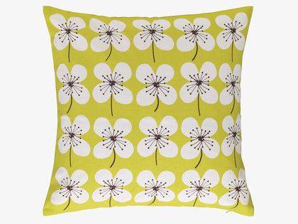 SAKURA GREENS Cotton 45 x 45cm yellow floral patterned cushion - HabitatUK