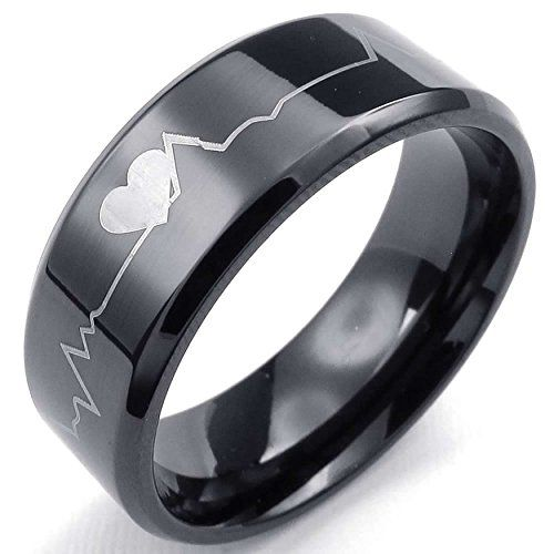 AnaZoz Black Heart Heartbeat 8MM Band Mens Womens Stainless Steel Ring Size 11. By AnazoZ Jewelry Shop Adopt Resist Allergy Material,Ensure Safety And Environmental Protection. Over 1000+ Offers High Quality Luxury Jewelry, Choose a Favorite Gift. 30-Day Money Back Guarentee.100% Secure Shopping. By AnazoZ Jewelry Brand Free Package As a Gift. Any Questions by E-mail, You Will Get a Reply in 24 Hours.