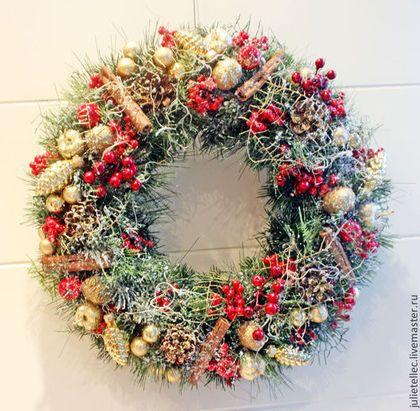Рождественский веночек - бордовый,зеленый,традиционный венок,рождественский венок