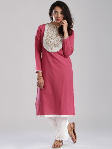 Anouk Pink Linen Embroidered Kurta