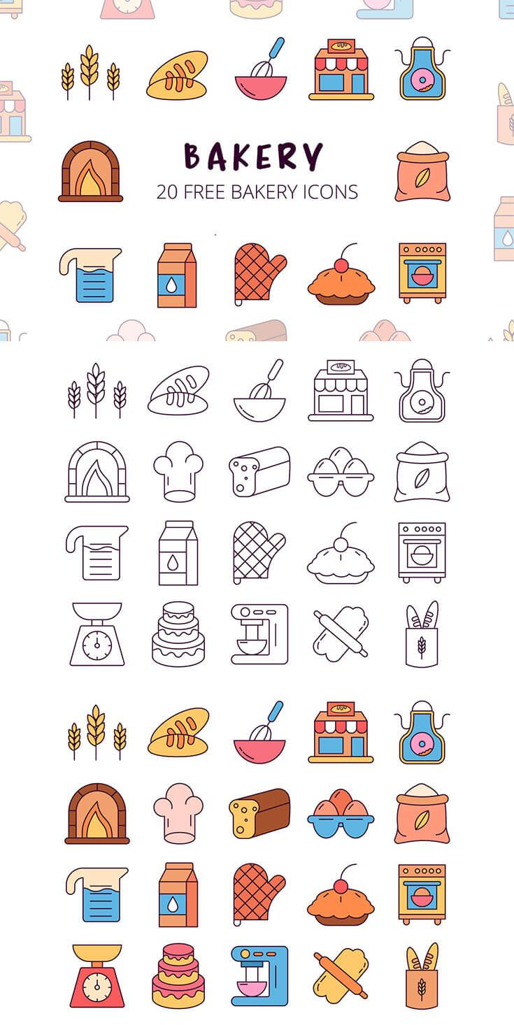 Free Bakery Vector Icon Set