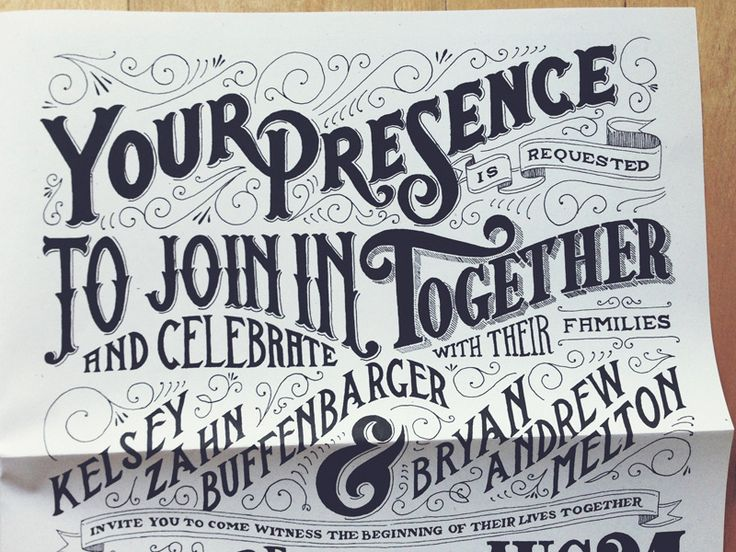 Wedding Invite typography by Drew Melton