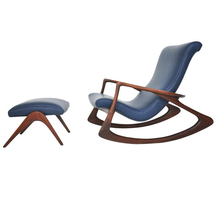 Vladimir Kagan Rocking Chair with Ottoman for Kagan-Dreyfuss ca.1953. New leather, full recon'd.