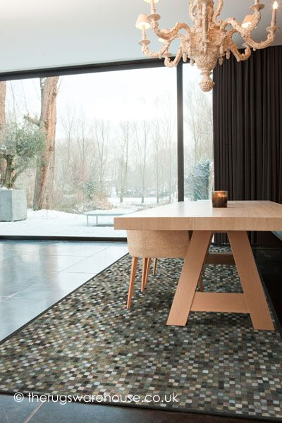Niki Green Rug is handmade from cowhide & cotton chenille http://www.therugswarehouse.co.uk/green-rugs/niki-green-rug.html