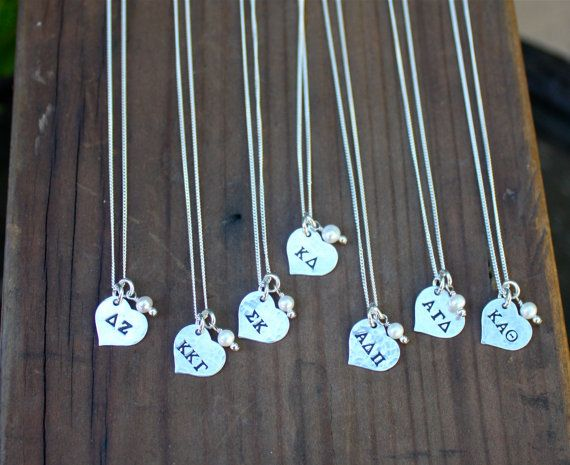 Sorority Petite Heart Necklace Sterling Silver - Sorority Jewelry, Big Sis, Lil Sis, Initiation and Bid Day Gift, Sorority Christmas Gift on Etsy, $30.00