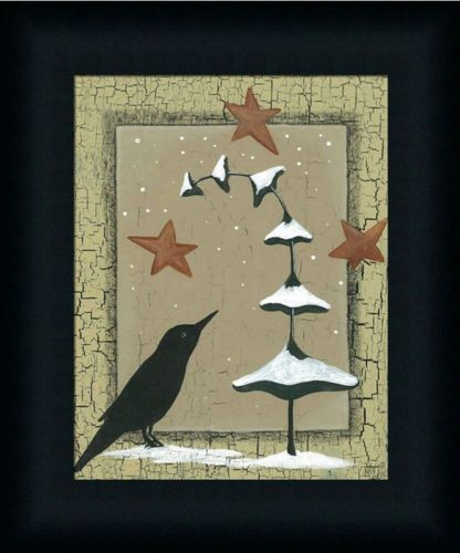 Winter-Crow-Primitive-Folk-Art-Country-Framed-Art-Print-Wall-Decor-Picture-10x8