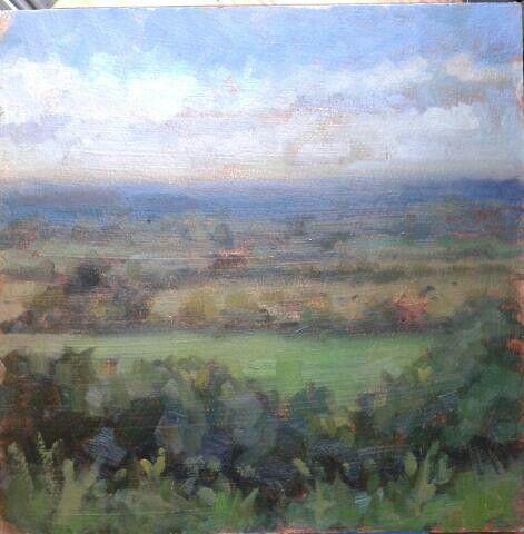 "Hill of tara.co meath.oil on panel.12""x12""."