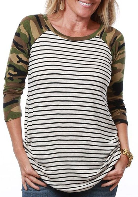 White Striped Camouflage Print Round Neck Casual Cotton Blend T-Shirt