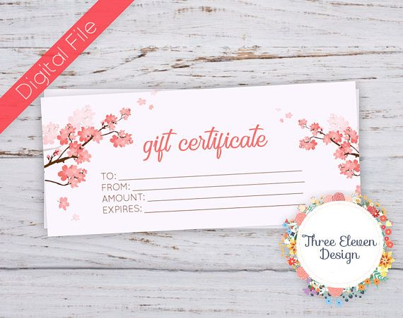 Cherry Blossom Printable Gift Certificate