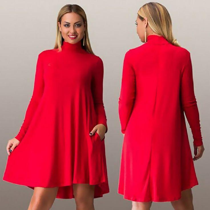 Fashion Women Dress Fall Winter Long Sleeve Big Size Ladies Club Party Dresses Sexy Plus Size Turtleneck Casual Vestidos