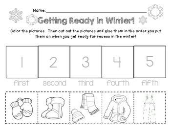 Worksheet that has students sequence the order that they put on winter clothing!  Great Practice for: Coloring Cutting Fine Motor Skills Dressing for Outdoors Literacy