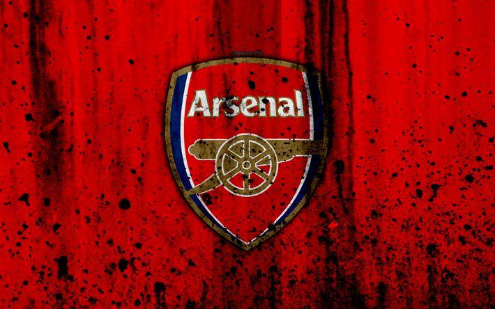 Download wallpapers FC Arsenal, 4k, Premier League, logo, The Gunners, England, soccer, football club, grunge, Arsenal, art, stone texture, Arsenal FC