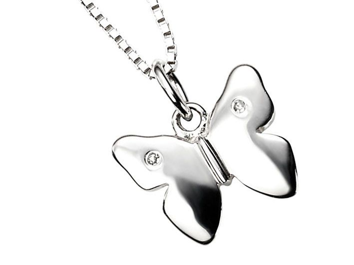 D for Diamond Silver Pendant - Butterfly