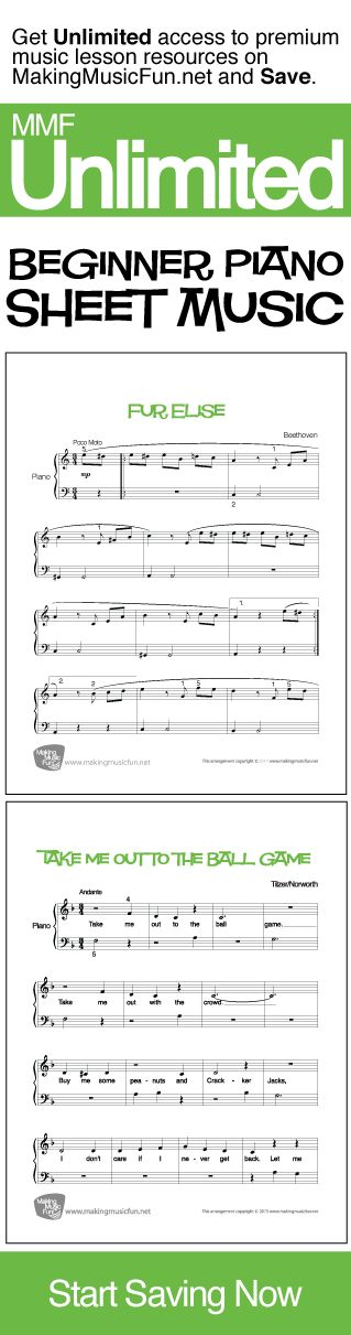 Get Unlimited Beginner Piano Sheet Music with MMF Unlimited and Save. MMF Unlimited gives you instant access to every music education resource on MakingMusicFun.net for one year at a great price.