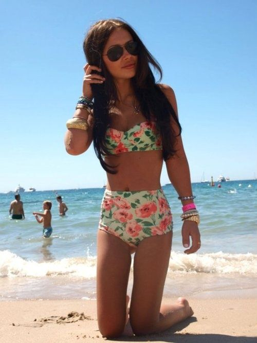 Retro swimwear- floral print with high-waisted bottoms