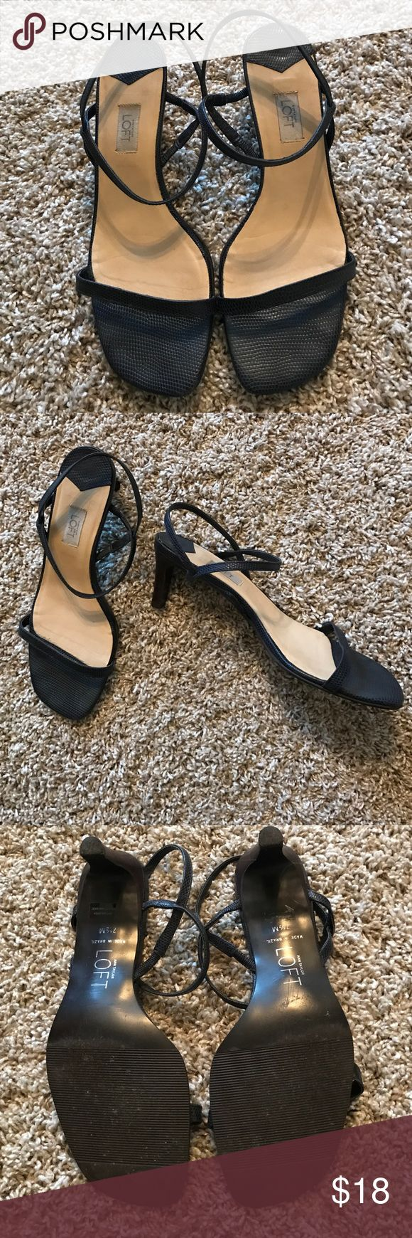 Ann Taylor Loft dressy navy heel sandals Ann Taylor Loft Navy dressy heel sandals. Size 7 1/2. Heel size 2 3/4 inches. Cute and classy. Leather upper. Make an offer. Ann Taylor Loft Shoes Heels