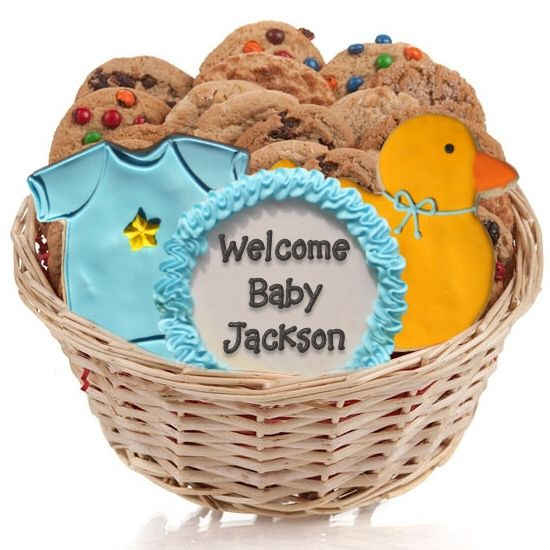 This Baby Boy Cookie Gift Basket is adorable!