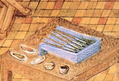 80-MINIATURISTE MEDIOEVALI------------Dettaglio della miniatura francese con THAMAR che dipinge.