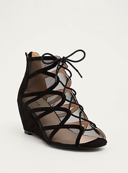 554fbaafc0a Mesh Scalloped Lace Up Mini Wedges (Wide Width)Mesh Scalloped Lace Up Mini  Wedges (Wide Width)