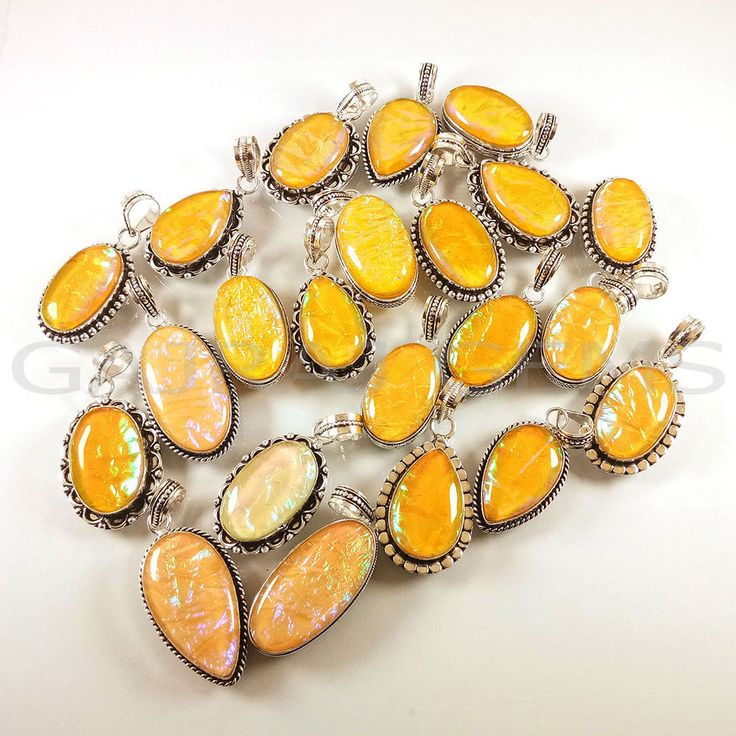 Valentine Gift !! 100 PCs Yellow Opals Gemstone Silver Plated Pendants Jewelry  #Gajrajgems92_9 #Pendant