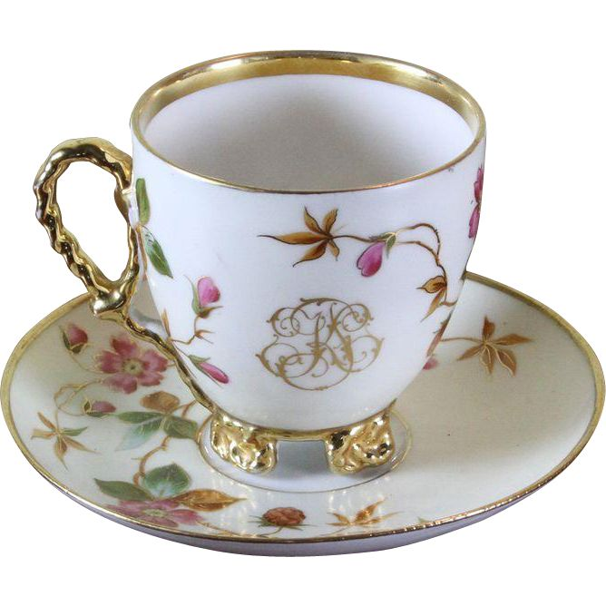 Collector's Tea Cup & Saucer Gold Rim & Floral Decoration with Initials