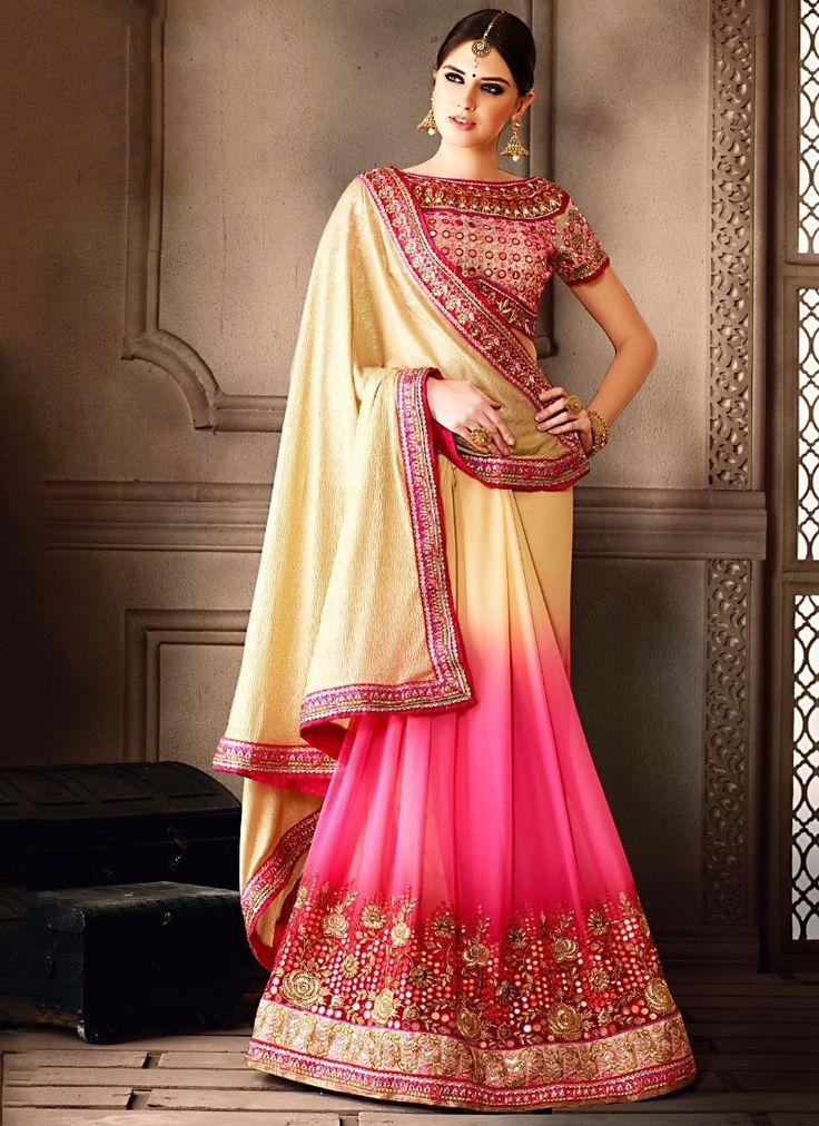 Designer Sarees online shopping in USA UK Canada Buy Celestial Beige Georgette Designer Saree