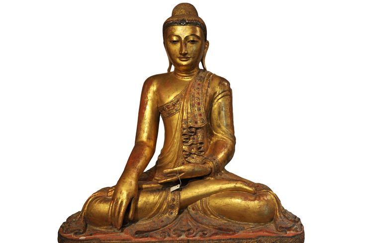 Antique wooden sitting Buddha. Myanmar (Mandalay), 19th century, made of wood, gold leaf and coloured glass. For more information about this and other amazing Asian/Buddhist antique products, please visit our website: www.sat-nam-art.com