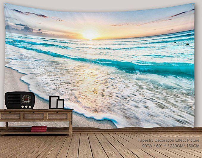 Amazon Com Sz Hd 5 Panel Beach Canvas Wall Art Of Blue Seascape