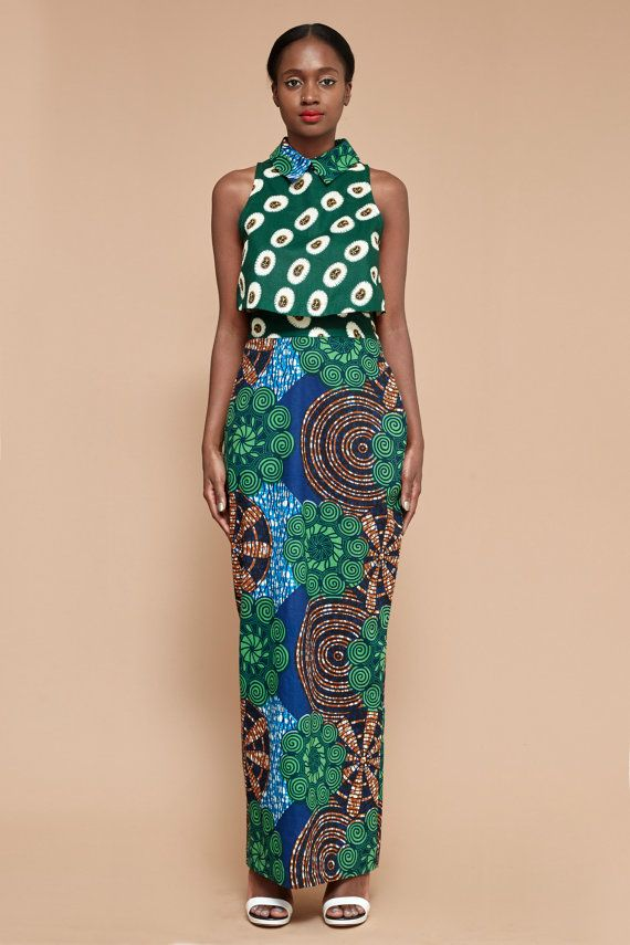 Abena Collar Crop Top ~DKK ~African fashion, Ankara, kitenge, African women dresses, African prints, African men's fashion, Nigerian style, Ghanaian fashion.