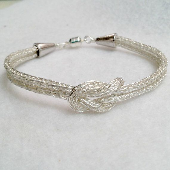 Viking Knit Silver Love Knot bracelet by DonnaDStore on Etsy