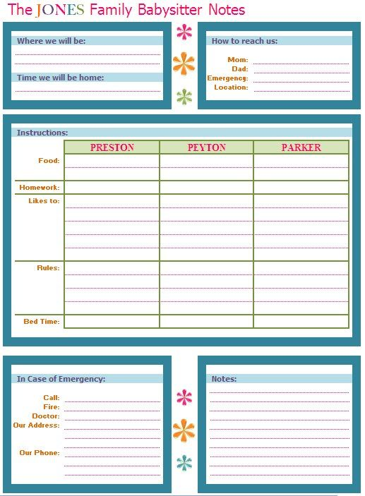 Great babysitter info sheet