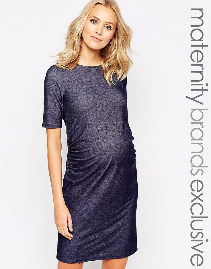 """¡Cómpralo ya!. Vestido estilo camiseta de Bluebelle Maternity. """"Vestido premamá de Bluebelle Maternity Acabado elástico ligero Escote redondo Paneles laterales fruncidos Corte estándar - se ajusta al tallaje real Diseño para adaptarse a todas las etapas del embarazo Lavar a máquina 96% viscosa, 4% elastano Modelo: Talla UK 8/EU 36/USA 4; Altura de 180 cm/5'11"""""""" Exclusivo en ASOS"""" , vestidoinformal, casual, informales, informal, day, kleidcasual, vestidoinformal, robeinformelle, vestito..."""