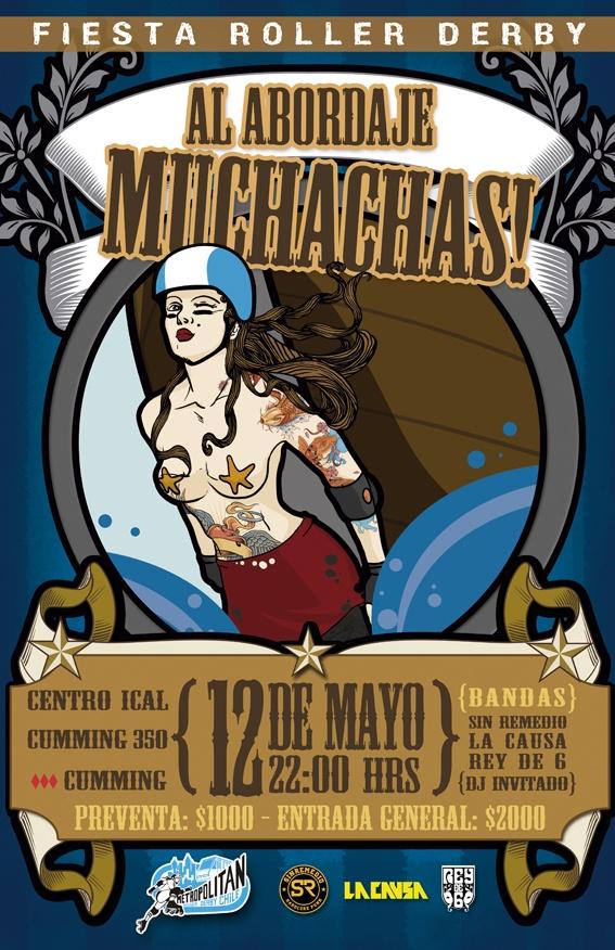 """Afiche para una fiesta en el mes del mar.   Comunicaciones MRDC  Ilustración: Alvaro Zamudio  Gráfica: Natalia """"Talibana"""" Olguín."""
