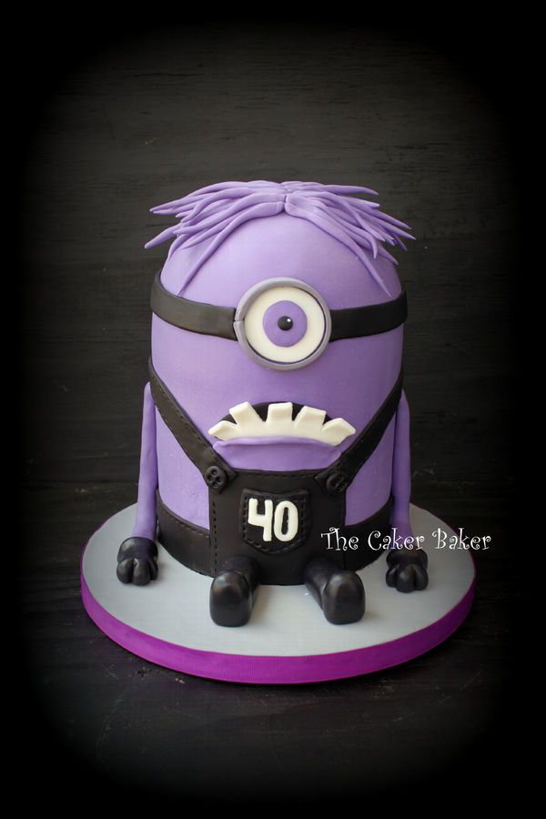 Purple Minion from Despicable Me 2 for a 40th birthday. :) The hair was the worst part. :( I wanted to find some purple cotton candy, but couldn't. Overall I am happy with how he turned out.