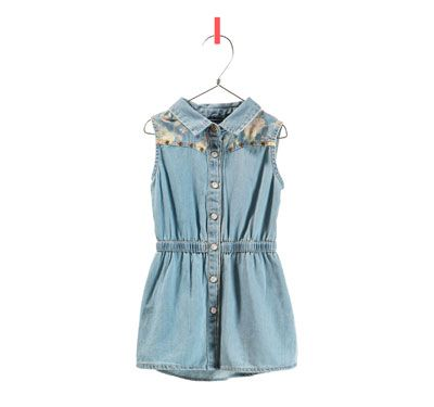 DENIM DRESS WITH FLOWERS - Dresses - Baby girl - Kids - ZARA United States