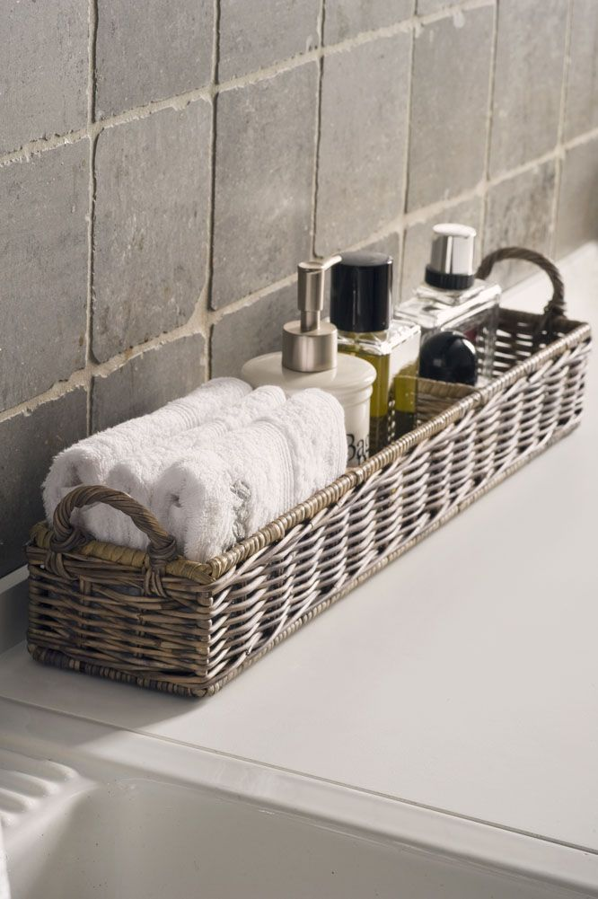 basket with a visually pleasing way to display toiletry items. More