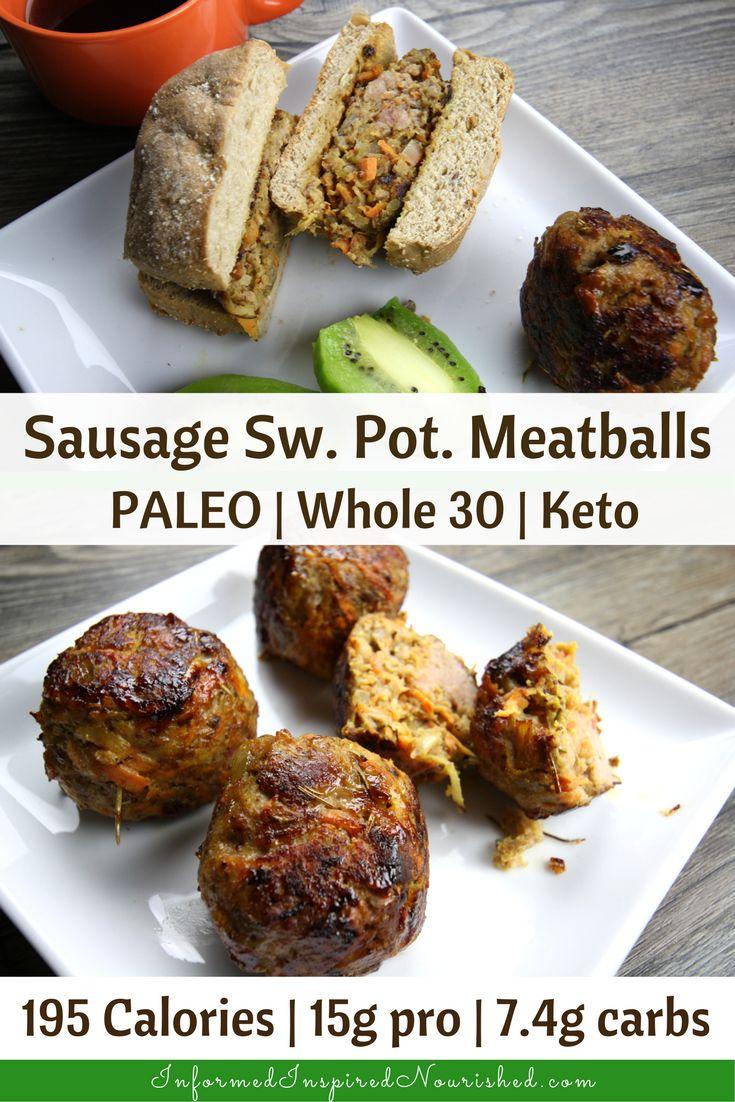 Sausage Sweet Potato Meatballs | InformedInspiredNourished