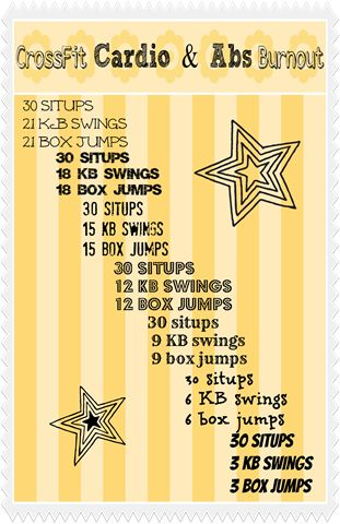 crossfit workout: situps; kb swings; box jumps CALL 911 IM DYING! Now know I'm allergic to working out!.......