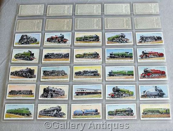 Vintage Wills Railway Engines Full Complete Set of 50 Cigarette Cards in Plastic Sleeves Issued in 1936 steam trains locomotives (ref: 5011)