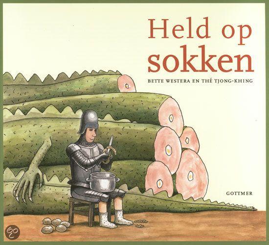Bette Westera - Held op sokken || Gottmer 2013, 32 pagina's || Lang geleden, in de middeleeuwen, hadden alle ridders baarden. Behalve ridder Roderik, en die telde dan ook niet mee. Maar laat hij nu net iets kunnen waarmee hij alle andere ridders aftroeft... || http://www.bol.com/nl/p/held-op-sokken/9200000009984336/