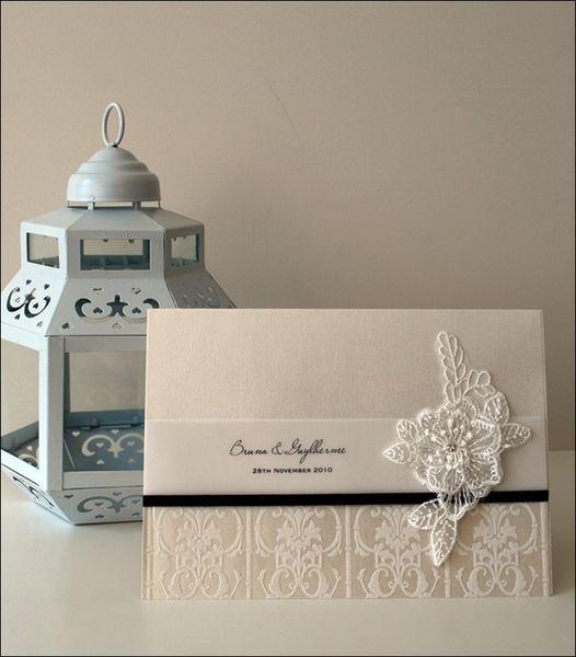 lace invitation with embellishment