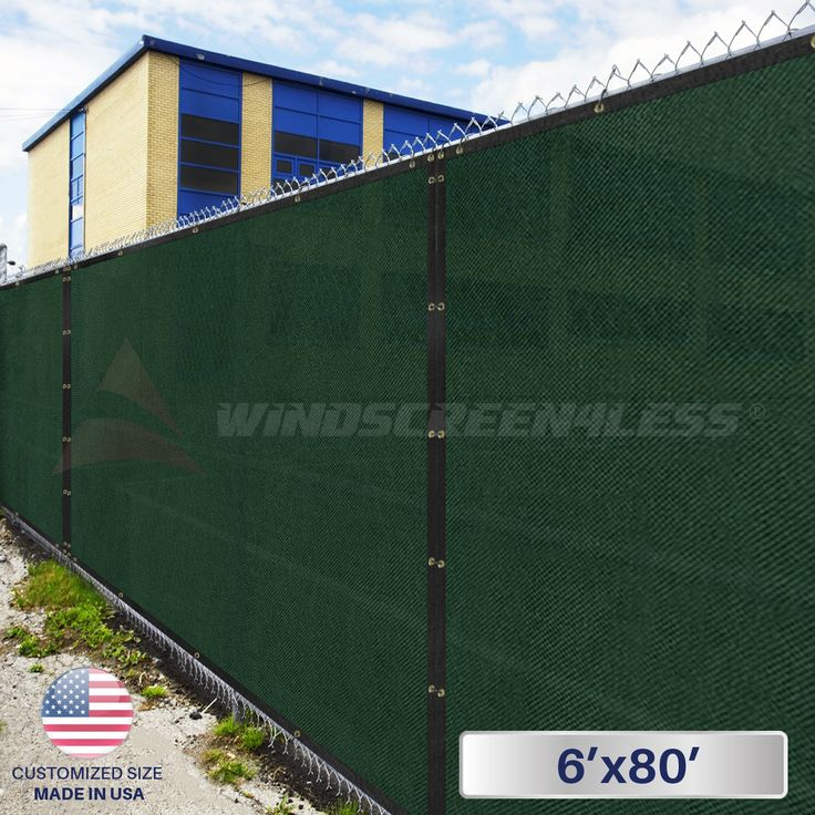 6' x 80' Privacy Fence Screen in Green with Brass Grommet 85% Blockage Windscreen Outdoor Mesh Fencing Cover Netting Fabric - Custom Size Available