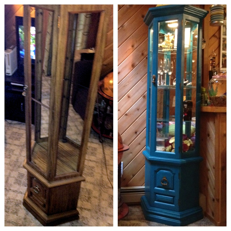 Curio Cabinet Before And After. Rustoleum Spray Paint In Lagoon.