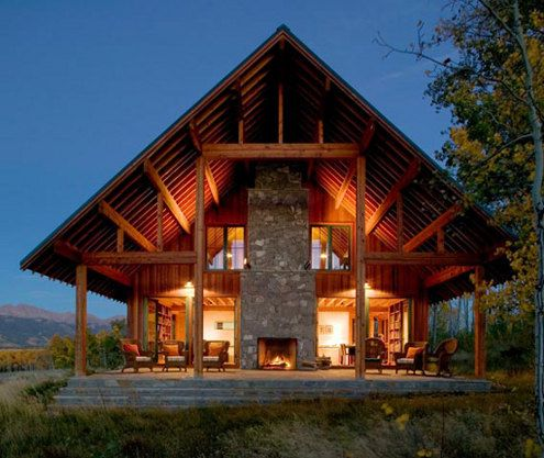 converted barnRanch Home, Ranch House, Country House, Nature Materials, Outdoor Room, House Architecture, Outdoor Fireplaces, Outdoor Spaces, Logs Cabin
